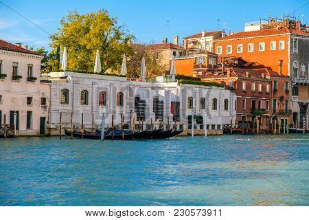 Interior On Old Brick House With Columns In Venice, Italy