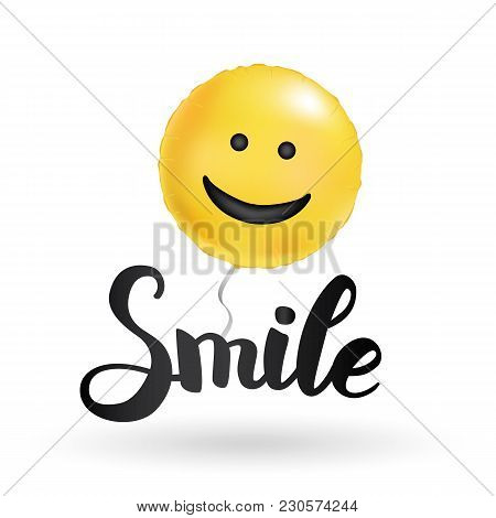 Smile Yellow Balloons. Fun Round Bright Balloon. Smiley Logo, Funny Character, Inflatable Air. Greet