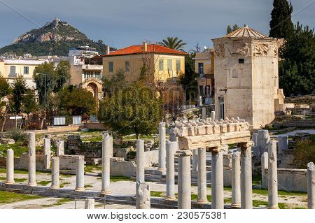 The Historical Ruins Of The Roman Forum And The Tower Of The Winds. Athens. Greece.