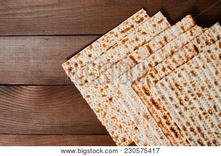 Traditional Jewish Holiday Pesach. Traditional Jewish Festive Food Matza. Spring Holiday Pesah.