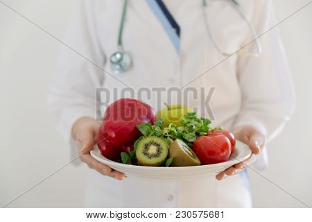 Nutritionist, Doctor Holding Fresh Fruit And Vegetable, Healthy Diet, Nutrition Food As A Prescripti