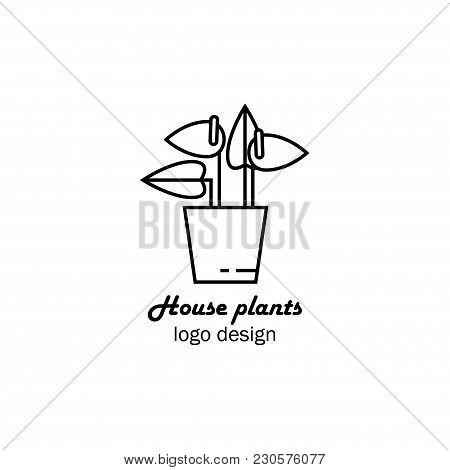 Vector Illustration Of An House Flower In Pot, Flower Shop Logo Design, Home Plant Logo, Flower Icon