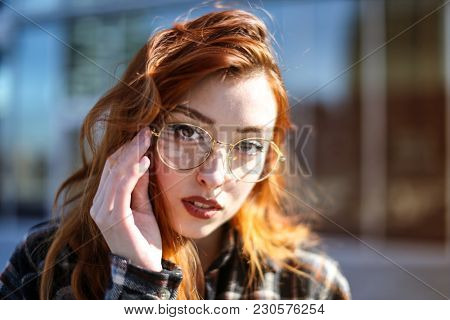Young woman wearing glasses