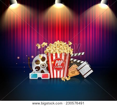 Theater Or Cinema Stage With Curtains. Movie Show Vector Illustration. Retro Decoration.