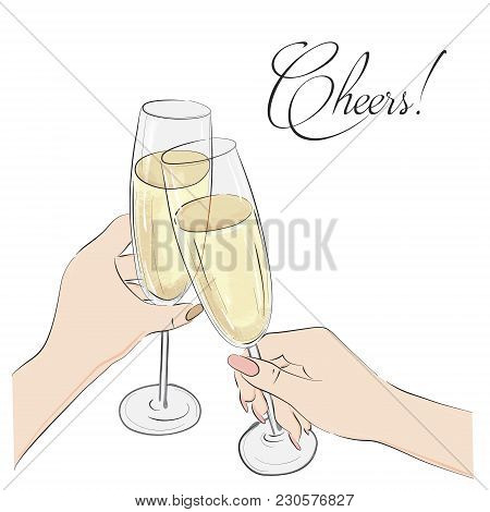 Cheers Vector Illustration. Glasses With Champagne Alcohol  And Cheers Typography. Happy Anniversary