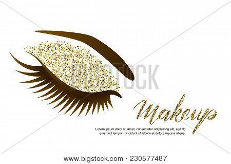 Vector Illustration Of Beautiful Female Eye With Long Eyelashes And Holiday Luxury Makeup. Golden Gl