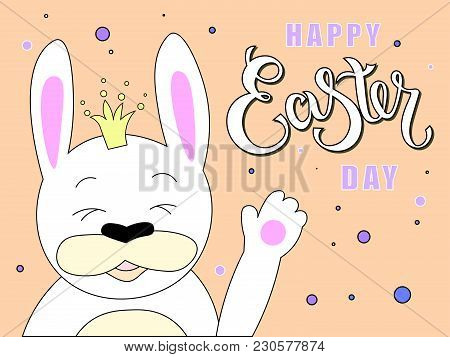 Hand Sketched Happy Easter Day Text With Joyful White Bunny As Pascha Logotype, Badge And Icon. Draw