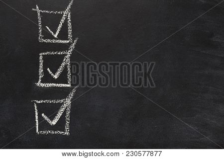 Three Marked Checkboxes On Blackboard. Checklist Template Drawn With Chalk. Choice, Analisys, Vote C
