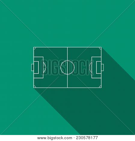 Football Field Or Soccer Field Icon Isolated With Long Shadow. Flat Design. Vector Illustration