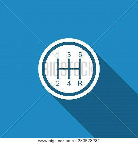 Gear Shifter Icon Isolated With Long Shadow. Transmission Icon. Flat Design. Vector Illustration