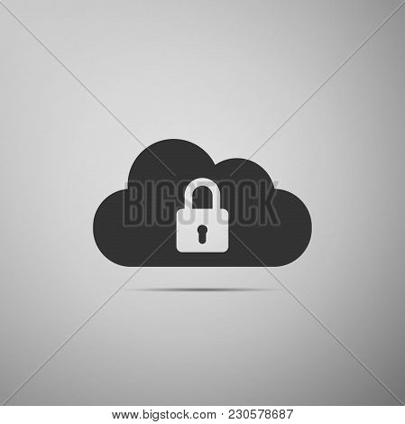 Cloud Computing Lock Icon Isolated On Grey Background. Cloud Protection Icon. Cloud Security Concept