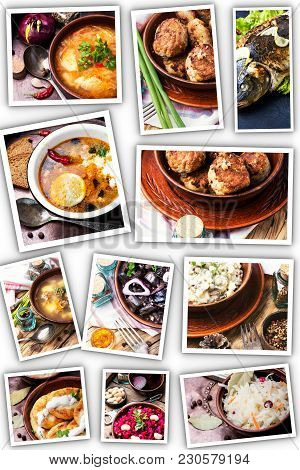 Collage With National Russian Dishes, Soups, Cutlets, Salads And Fish. Russian Food.ukrainian Food
