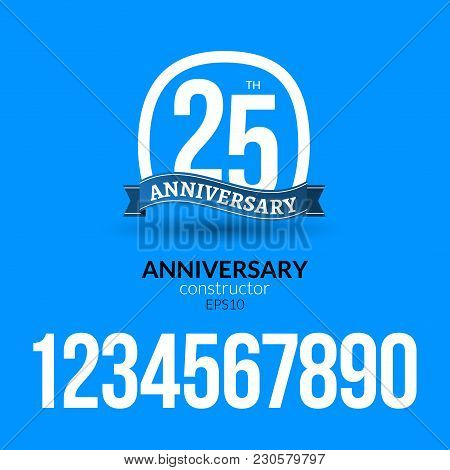 Anniversary Badge Label Ribbon Sign Design. Anniversary Constructor With Numbers. Congratulation Sym