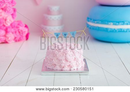 Festive Pink Rose Ombre Cream Cake On Big Blue Macaroon. First Year Cake Smash.