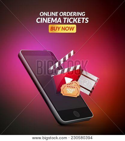 Cinema Movie Ticket Online Order Concept. Mobile Cinema Smartphone App Or Web Reservation. Vector Il