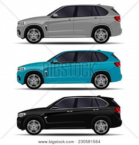 Realistic Suv Cars Set. Side View. Off Road