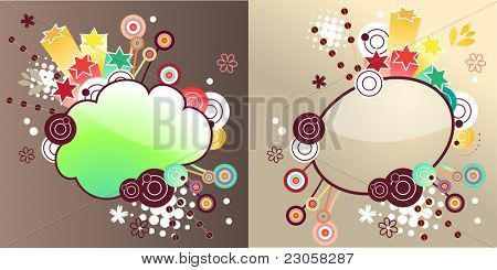 Two vector fancy floral labels