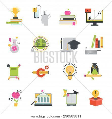 Online Education Vector Icons Set Distance Education School And Webinar Teamwork Symbols. Educationa