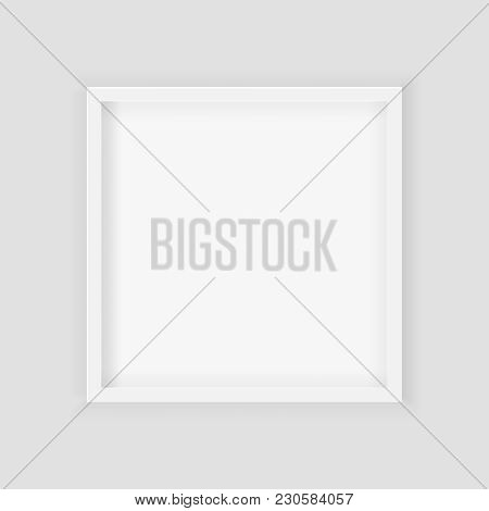3D Picture Square Frame Design. Realistic Square White Blank Pic