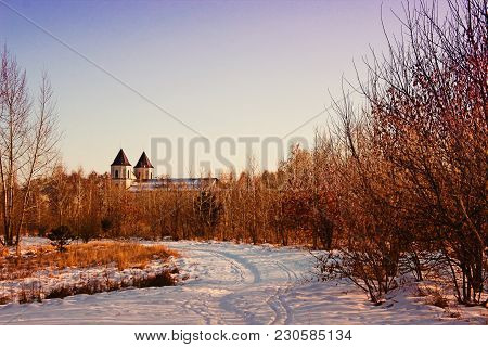Beautiful Landscape Of Nature And Ancient Chirch On The Background. Winter Season.