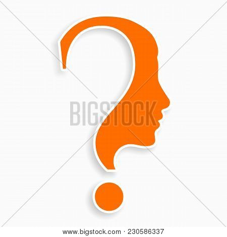 Human Face With Question Mark. Education And Innovation Concept. Vector.