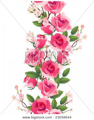 Vertical seamless rose pattern