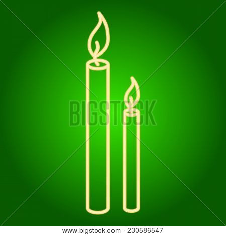 Burning Candles Icon . Easter. Neon Icon. Neon Sign. Effect Of Neon Glow. Vector Image