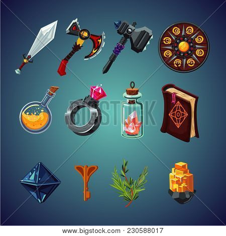 Legendary Collection. Set Of Magic Items For Computer Fantasy Game. Isolated Cartoon Icons Set.