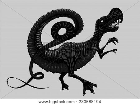 Black And White Dinosaur. Tattoo Style.tyrannosaur Silhouette Isolated On White.
