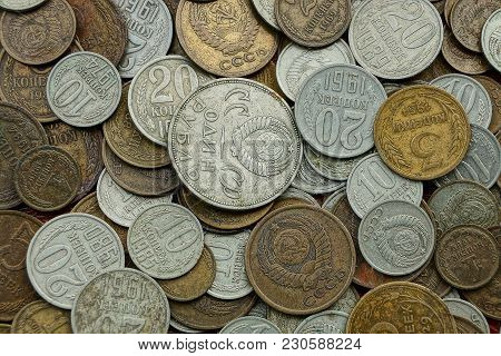 Texture Of White And Brown Old Soviet Coins