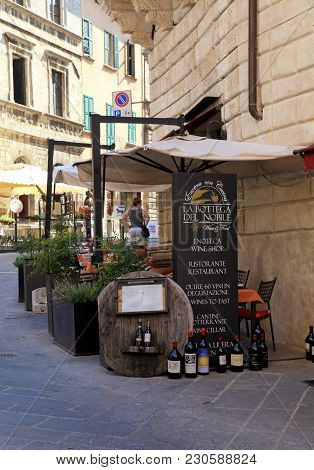 Montepulciano, Italy - July 19, 2017: Traditional Enoteca And Wine Shop On The Street Of The Histori