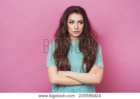 Portrait Of Displeased Upset Angry Female, Being Discontent And Unhappy As Can`t Achieve Goals, Isol