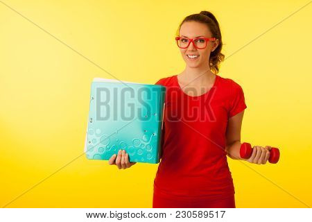 Cute Young Happy Caucasian Woman In Red T Shirt Over Vibrant Yellow Background Gesture Power Of Know
