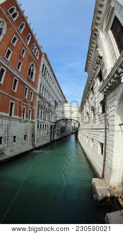 Bridge Of Sighs And Ducal Palace Called Ponte Dei Sospiri In Italian Language In Venice Photographed
