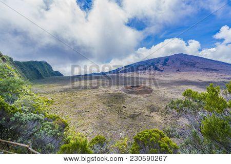 View Of Piton De La Fournaise Volcano, National Park  At Reunion Island