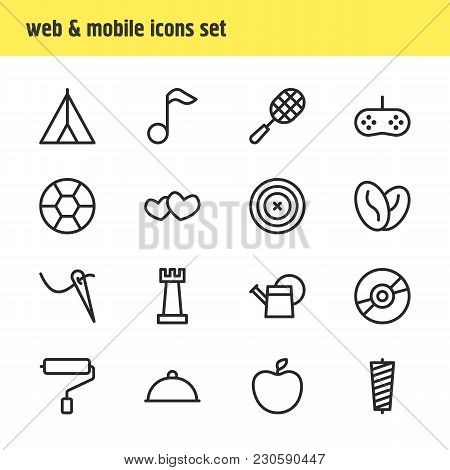 Vector Illustration Of 16 Entertainment Icons Line Style. Editable Set Of Kitchenware, Casino, Book