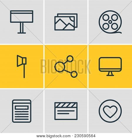 Vector Illustration Of 9 Media Icons Line Style. Editable Set Of Cd, Mail, Photo Apparatus And Other