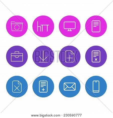 Vector Illustration Of 12 Office Icons Line Style. Editable Set Of Pin, Remove, Portfolio And Other