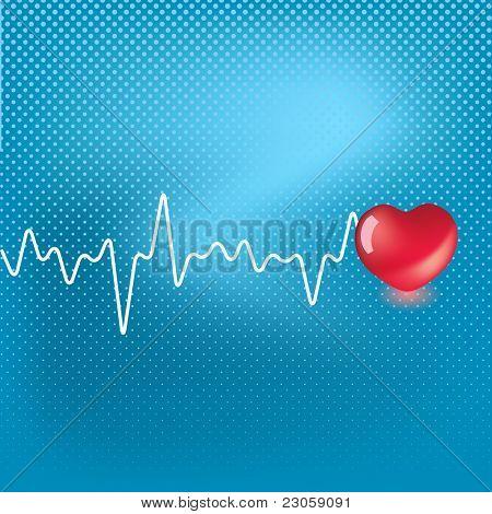 Símbolo de corazón y el latido del corazón en fondo azul