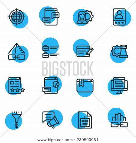 Vector Illustration Of 16 Advertising Icons Line Style. Editable Set Of Blog Commenting, Sitemap, Bu