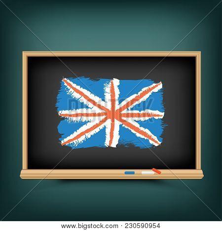 Learn English Language Lesson. Great Britain National Flag Draw On School Education Blackboard. Grea
