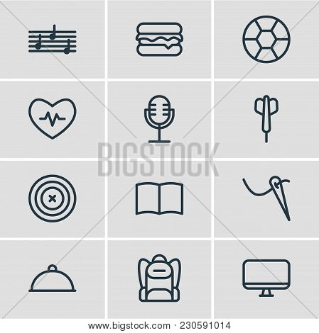 Vector Illustration Of 12 Lifestyle Icons Line Style. Editable Set Of Picture, Baseball, Rocket And