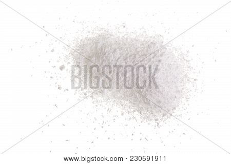 Washing Powder Isolated On White Background. Top View. Flat Lay.