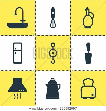 Illustration Of 9 Kitchenware Icons. Editable Set Of Scales, Decanter, Blender And Other Icon Elemen