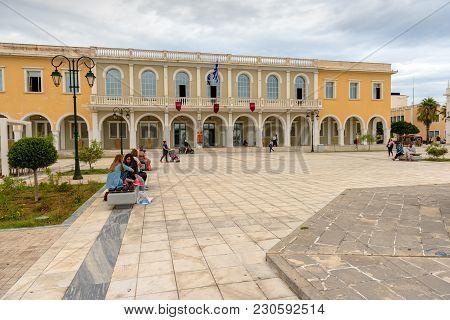 Zakynthos, Greece - September 29, 2017: Building Of Byzantine Museum On Solomos Square In Zakynthos