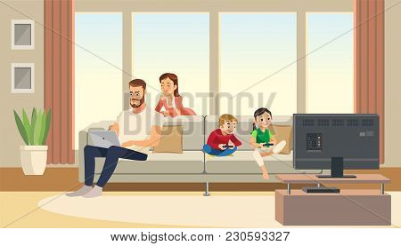 Family At Home. Mother Care About Father. Children Playing Game Console. Vector Cartoon Characters.