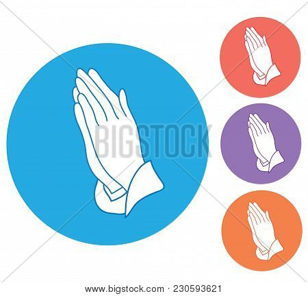 Vector Illustration Of Praying Hands Icon Isolated On White Background
