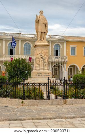 Zakynthos, Greece - September 29, 2017: Dionysios Solomos Statue In Front Of Byzantine Museum In Zak