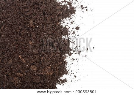 Pile Heap Of Soil Isolated On White Background With Copy Space For Your Text. Top View.
