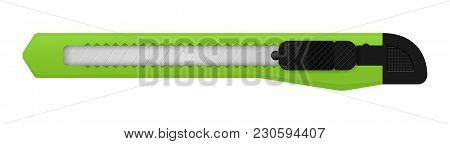 Vector Green Snap Off Knife, A Knife With A Small, Sharp, Sometimes Detachable Blade, As Used By A S